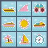 Plan symbolsuppsättning för sommar Fotografering för Bildbyråer