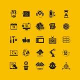 Plan symbolsuppsättning för svart Affärsobjekt, kontorshjälpmedel Royaltyfri Foto