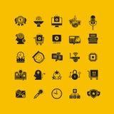 Plan symbolsuppsättning för svart Affärsobjekt, kontorshjälpmedel Arkivfoton