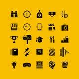 Plan symbolsuppsättning för svart Affärsobjekt, kontorshjälpmedel Royaltyfria Foton