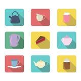 Plan symbolsuppsättning för te Arkivfoto