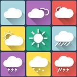 Plan symbolsuppsättning för väder på flerfärgad bakgrund royaltyfri illustrationer