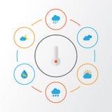 Plan symbolsuppsättning för väder Samling av halvmånformig, mulet, dusch och andra beståndsdelar Inkluderar också symboler liksom stock illustrationer