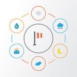 Plan symbolsuppsättning för väder Samling av mulet, droppe, baner och andra beståndsdelar Inkluderar också symboler liksom soligt stock illustrationer