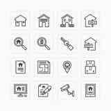 Plan symbolsuppsättning för vektor av begreppet för fastighetegenskapsöversikt