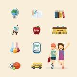 Plan symbolsuppsättning för vektor av begreppet för utbildningsdesignfärg Royaltyfria Bilder