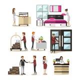 Plan symbolsuppsättning för vektor av hotellfolk, tecknad filmtecken stock illustrationer