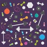 Plan symbolsuppsättning för vektor av konditionhjälpmedel, sportbeståndsdelar Arkivbilder