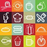 Plan symbolsuppsättning för vektor - mat och kafé royaltyfri illustrationer
