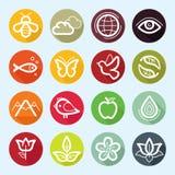 Plan symbolsuppsättning för vektor - natur, flora och fauna Arkivfoton