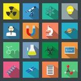 Plan symbolsuppsättning för vetenskap Royaltyfri Fotografi