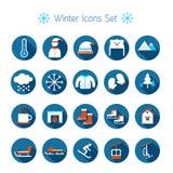 Plan symbolsuppsättning för vinter Stock Illustrationer