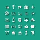Plan symbolsuppsättning för vit Affärsobjekt, kontorshjälpmedel Royaltyfri Bild