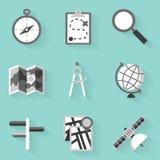 Plan symbolsuppsättning navigering Vit utformar Royaltyfri Bild
