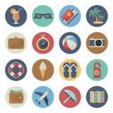 Plan symbolsuppsättning på ämnet av turism och resanden Vektor Illustrationer