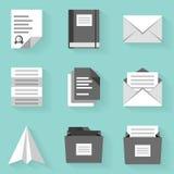 Plan symbolsuppsättning papper 2 Vit utformar Arkivfoton