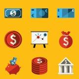 Plan symbolsuppsättning. Pengar Arkivfoto