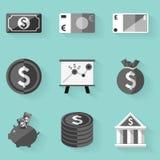 Plan symbolsuppsättning pengar Vit utformar Arkivfoton