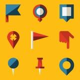 Plan symbolsuppsättning. Skjut stiftöversikten Arkivfoto