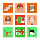 Plan symbolsuppsättning - studier Fotografering för Bildbyråer