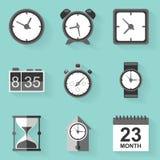 Plan symbolsuppsättning Tid klocka Vit utformar Arkivbild