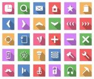 Plan symbolsuppsättning, vektorsamling med lång skugga Arkivbild