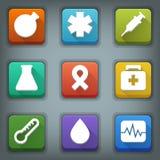 Plan symbolsuppsättning. Vita symboler. Läkarundersökning Arkivfoton