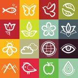 Plan symbolsuppsättning för vektor - natur, flora och fauna Royaltyfri Foto