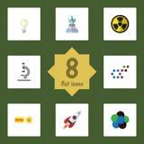 Plan symbolsvetenskapsuppsättning av Irradiation, kemikalie, Lightbulb och andra vektorobjekt Inkluderar också molekylen, gas vektor illustrationer