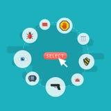 Plan symbolsvision, virus, vapen och andra vektorbeståndsdelar Uppsättning av att uppbringa plana symboler Royaltyfria Foton