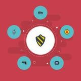 Plan symbolswalkie-talkie som förbjudas, sköld och andra vektorbeståndsdelar Uppsättningen av symboler för säkerhetslägenhetsymbo vektor illustrationer