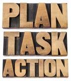 Plan, tarea, palabra de la acción en tipo del woot Fotos de archivo libres de regalías