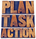 Plan, task, action word abstract in wood type. Plan, task, action word abstract -  isolated words in vintage letterpress wood type blocks stained by inks Stock Images