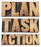 Plan, task, action word in woot type. Plan, task, action - a collage of isolated words in vintage letterpress wood type Royalty Free Stock Photos