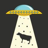 Plan tecknad filmvektorillustration med ufo-kidnappning på mörk himmel Royaltyfria Bilder
