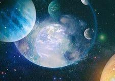 Plan?tes, ?toiles et galaxies dans l'espace extra-atmosph?rique montrant la beaut? de l'exploration d'espace ?l?ments meubl?s par illustration de vecteur
