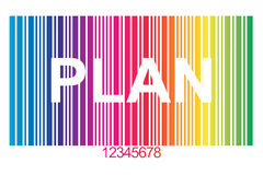 Plan. Text 'plan' in bold uppercase white letters inscribed on vertical rainbow style colored lines with numbers in ascending order listed below Stock Image