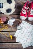 Plan till att spela fotboll i skola Royaltyfri Fotografi
