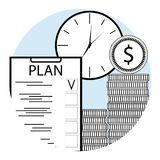 Plan time and money line art. Icon for app mobile. Checklist plan, clock and stacked coins. Vector illustration Royalty Free Stock Images