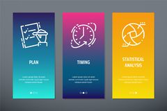 Plan, Timing, Statistical Analysis Vertical Cards With Strong Metaphors. Royalty Free Stock Photos
