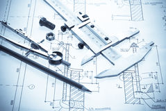 Plan and tools. Professional architecture drawings and working tools Stock Images