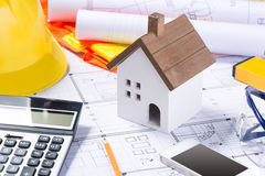 Plan and tools. floor plan and calculator, architecture business Stock Photos