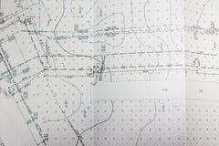 Plan topographique de terrain, emplacement des communications dans le terrain photo stock