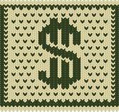Plan tricoté du dollar Photographie stock libre de droits