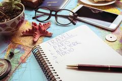 Plan of trip. Background -  map, retro camera, money, compass Stock Photos