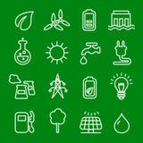 Plan tunn linje symbolsvektoruppsättning av makt och energi, teknologier för naturlig förnybara energikällor som sol-, vind, vatt Royaltyfri Foto