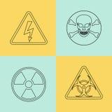 Plan tunn linje vektorvarningstecken, symboler vektor illustrationer