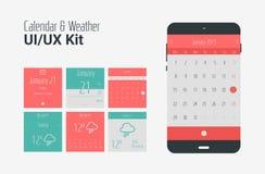 Plan UI eller sats för UX mobil kalender- och väderapps Arkivfoto