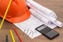 Plan- und Bauwerkzeuge Lizenzfreie Stockbilder