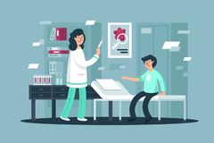 Plan ung man på vaccineringen med kvinnasjuksköterskan med injektionssprutan royaltyfri illustrationer
